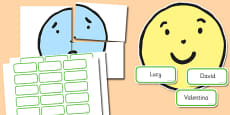 Happy Face Sad Face 4xA4 Display Cut Outs Behaviour Management Boards
