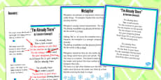 Figurative Language Activity and Reference Sheet Metaphor