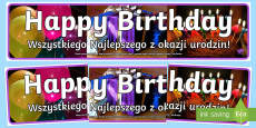 * NEW * Birthday Photo Display Banner English/Polish