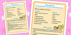 Fruit Sticks with Yoghurt Recipe Sheet to Support Teaching on Handa's Surprise