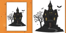 Editable Halloween Haunted House (A4)
