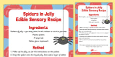 Spiders in Jelly Edible Sensory Recipe