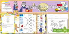 Childminder EYFS Resource Pack to Support Teaching on Mr Wolf's Pancakes