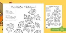 * NEW * Herbstliches Würfelspiel Würfelspiel: Addieren und Anmalen
