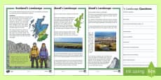 Scotland's Landscape Differentiated Reading Comprehension Activity