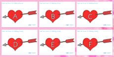 Australia - Valentine's Day Hearts and Arrows Uppercase Matching Activity