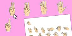 Editable British Sign Language Numbers 0-20 (Signer's View)