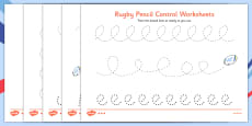 Rugby Pencil Control Activity Sheets