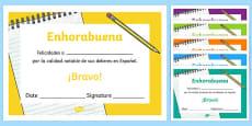Spanish End of Year Homework Award Certificate Spanish / Español