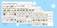Jungle Themed Complete the Pattern Activity Sheet (Differentiated)