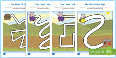 The Three Little Pigs Pencil Control Path Sheets