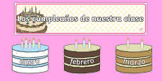Editable Birthday Display Set Cakes Spanish