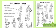 Circus Roll and Colour Activity Sheet