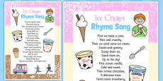 Ice Cream Rhyme Song Lyrics Card