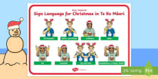 New Zealand Sign Language Te Reo Christmas Display Poster Te Reo Maori
