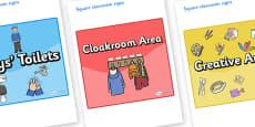 USA Themed Editable Square Classroom Area Signs (Colourful)