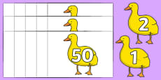 Numbers 0-50 on Yellow Duck to Support Teaching on Brown Bear, Brown Bear