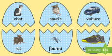 Easter Eggs French Rhyming Words Matching Game