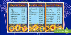 Bonfire Night Food Stall Role Play Menu