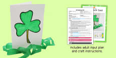 Shamrock Card Craft EYFS Adult Input Plan and Resource Pack