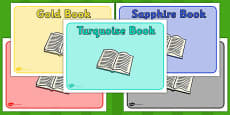 Editable Class Book Group Signs (Jewel themed)