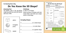 Do you Know the 3D Shape? Activity Sheet