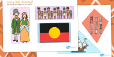 Australia - Aboriginal and Torres Strait Islander People Themed Cutting Skills Worksheet
