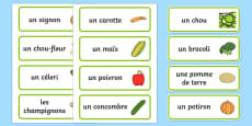 Vegetable Word Cards (French)