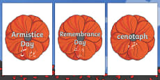 Remembrance Day Poppies Topic Words on Topic Images Urdu Translation