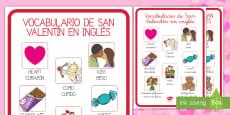 Vocabulario de San Valentín en inglés Póster DIN A4