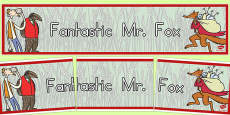 Australia - Display Banner to Support Teaching on Fantastic Mr Fox