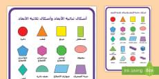 ملصق الأشكال ثنائية الأبعاد والأشكال ثلاثية الأبعاد