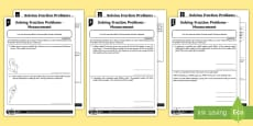 * NEW * Solving Fraction Problems Measurement Differentiated Activity Sheets