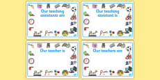 Editable Classroom Teacher/TA/NN Display Signs (Design 2)