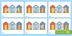 100 High Frequency Words on Beach Huts