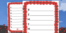Remember Acrostic Poem Template