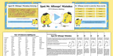 Spot Mr Whoops' Mistakes (Y3/Y4 Statutory Spellings) Assessment Pack