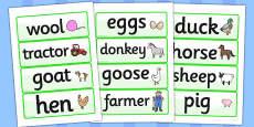 On the Farm Word Cards