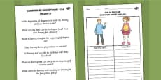 Comparing Barney and Lou Activity Sheet with Prompts