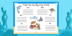 Under the Sea Rhyming Words Activity Sheet