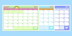 Monthly Calendar Planning Template 2017