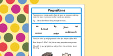 Preposition Challenge Activity to Support Teaching on The BFG