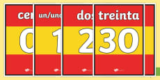 Basic Spanish Numbers 0-31 Display Posters