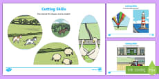 Trains Cutting Skills Activity Sheet to Support Teaching on The Train Ride