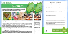 Summer Comprehension Differentiated Activity Sheets English / Italian
