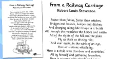 R. L. Stevenson From a Railway Carriage Poem Sheet