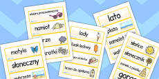 Polish Summer Topic Word Cards