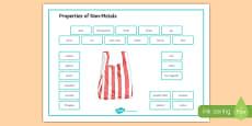 Properties of Non Metals Word Mat