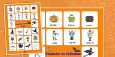 Vocabular de Halloween - Planșă cu imagini și cuvinte
