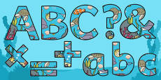 Under the Sea Themed Display Lettering Size Editable